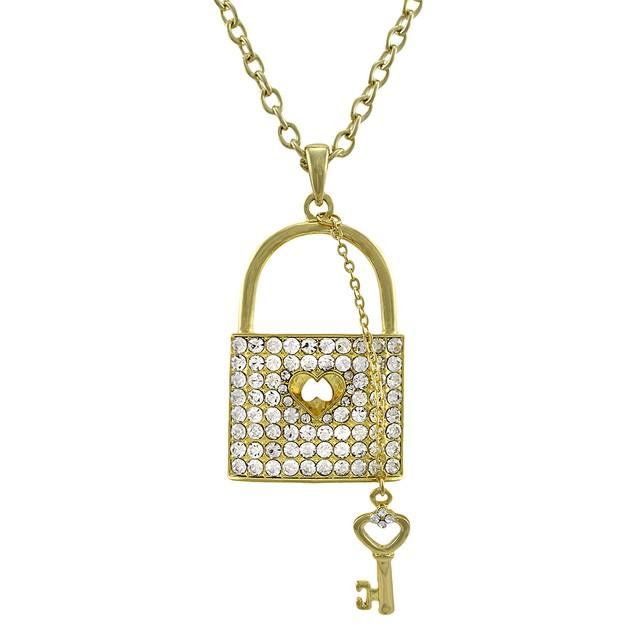Gold Tone Rhinestone Lock Necklace With Key Charm Pendant Necklaces