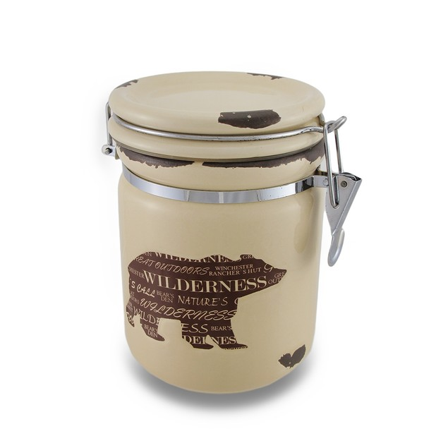 Wild Bear Silhouette Distressed Finish Airtight Cookie Jars