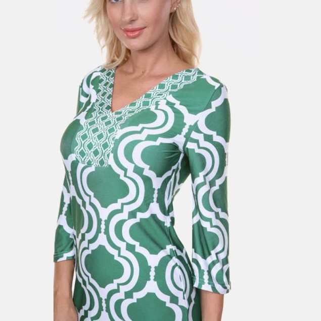 Sophia Emerald & White Print Dress