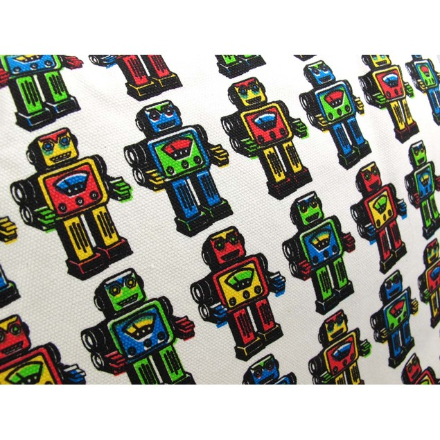 Cotton Canvas Tote Bag Colorful Robot Print Womens Tote Bags