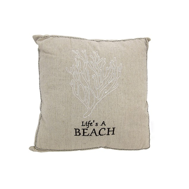 Life's A Beach Embroidered Decorative Throw Pillow Throw Pillows