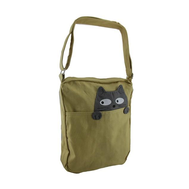 Sleepyville Critters Peeking Cat Canvas Crossbody Womens Cross Body Bags