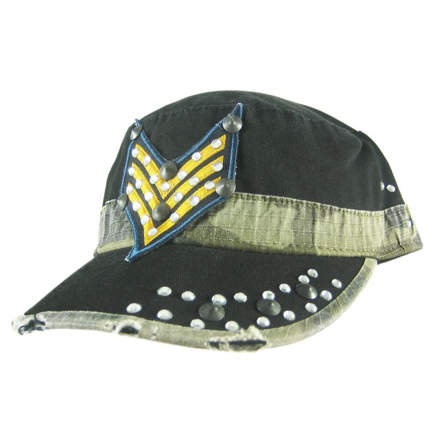 Rhinestone Accented Military Style Cadet Cap Black Mens Baseball Caps