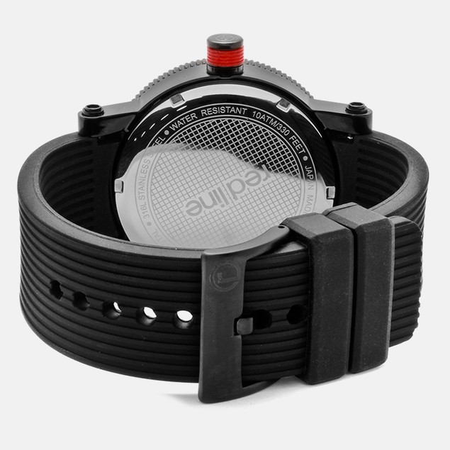 Red Line Men's Compressor Black Dial Black Silicone