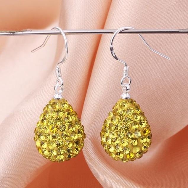 Pear Shaped Solid Austrian Stone Drop Earrings - Yellow Citrine