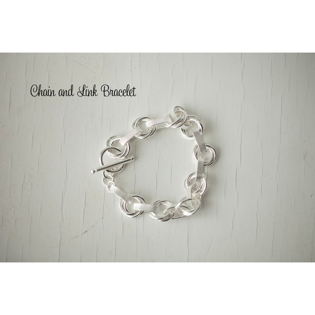Silver Plated Chain & Link Bracelet
