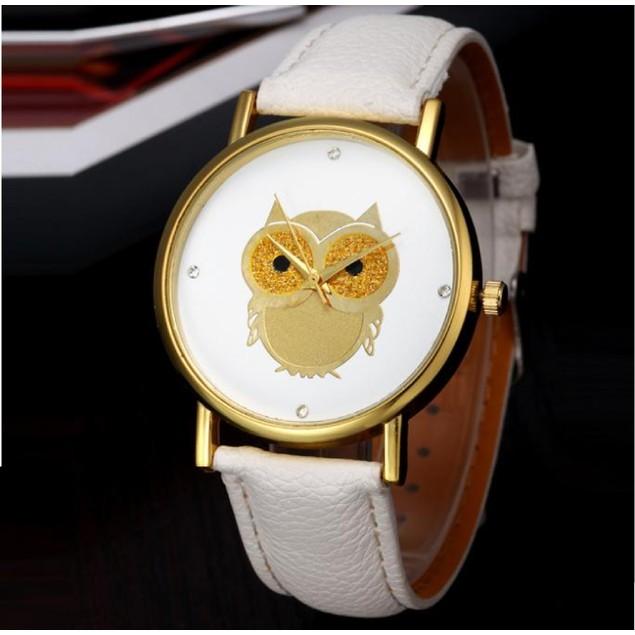 Gold Tone Owl Watch on White Strap