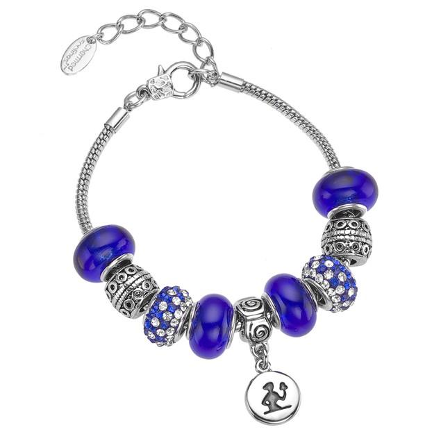 Italian Murano Glass Zodiac Charm Bracelets