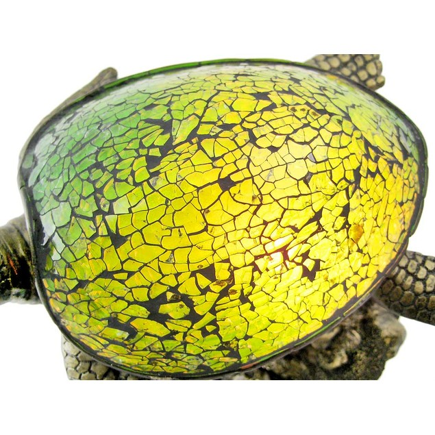 Mosaic Green Glass Swimming Sea Turtle Accent Lamp Accent Lamps