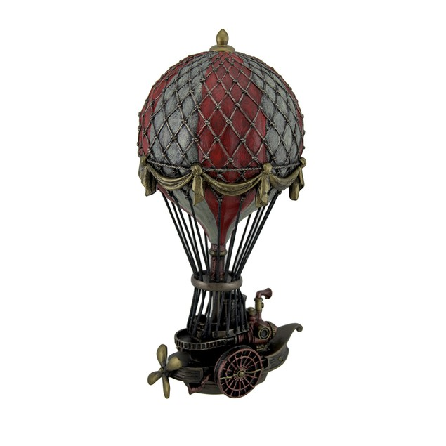 Hand Painted Steampunk Hot Air Balloon Fantasy Statues
