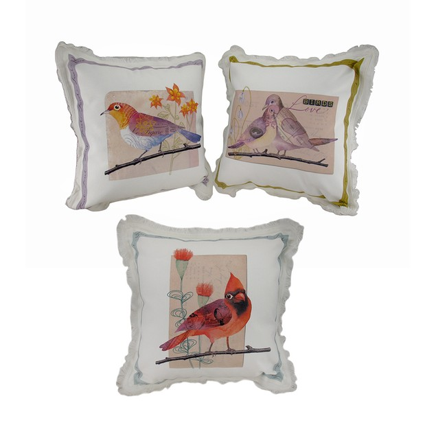 Set Of 3 Canvas Messenger Birds Throw Pillows 13 X Throw Pillows