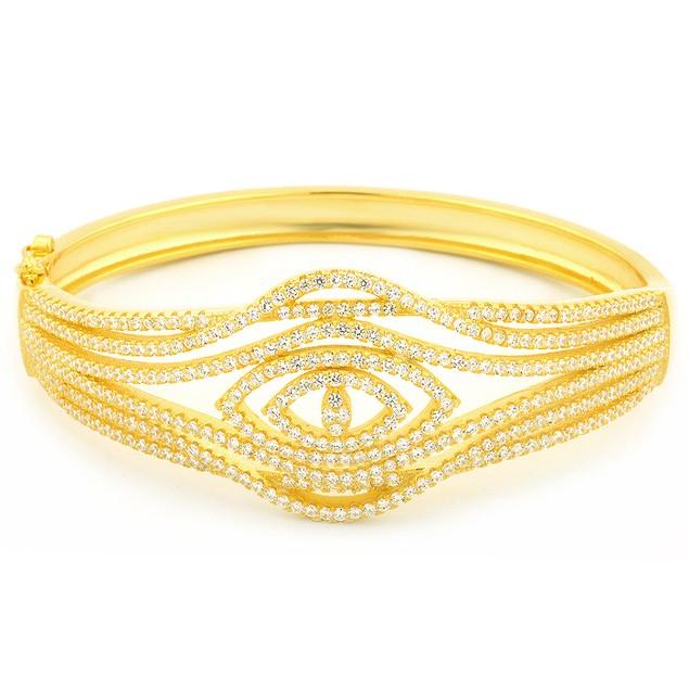 18K Gold Over Sterling Silver Evil Eye Bangle Bracelet
