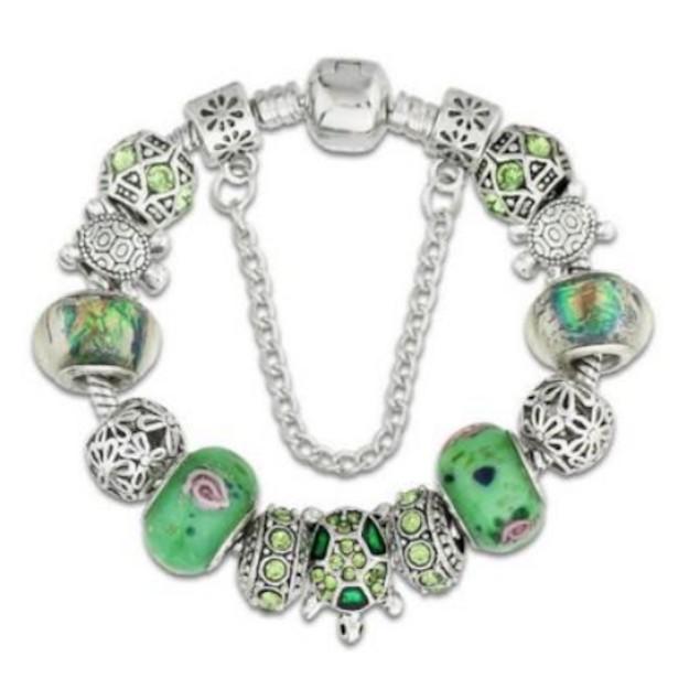 """Green Turtle Lovers European Glass Bead Charm Silver 7.5"""" Bracelet"""