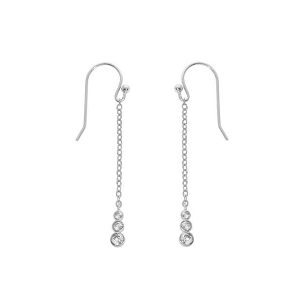 Sterling Silver Triple Bezel Drop Earrings