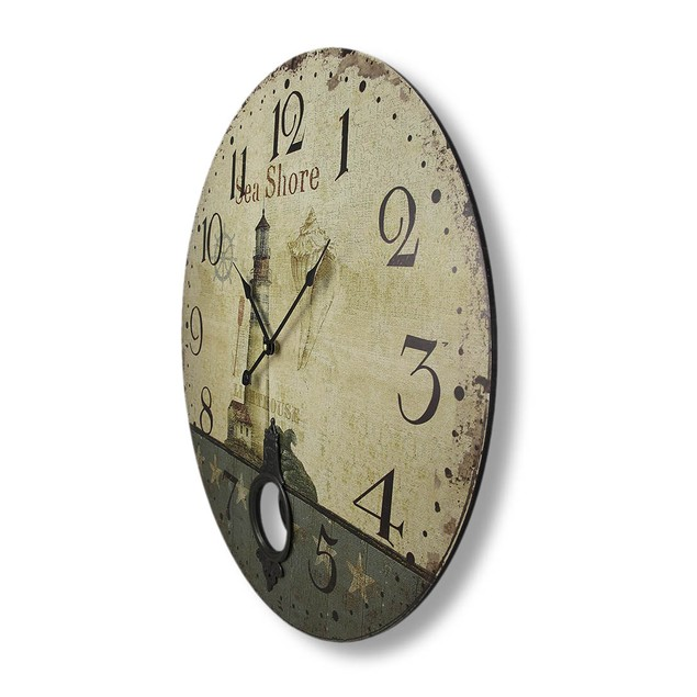 Antique Finish Seashore Lighthouse Wall Clock With Wall Clocks