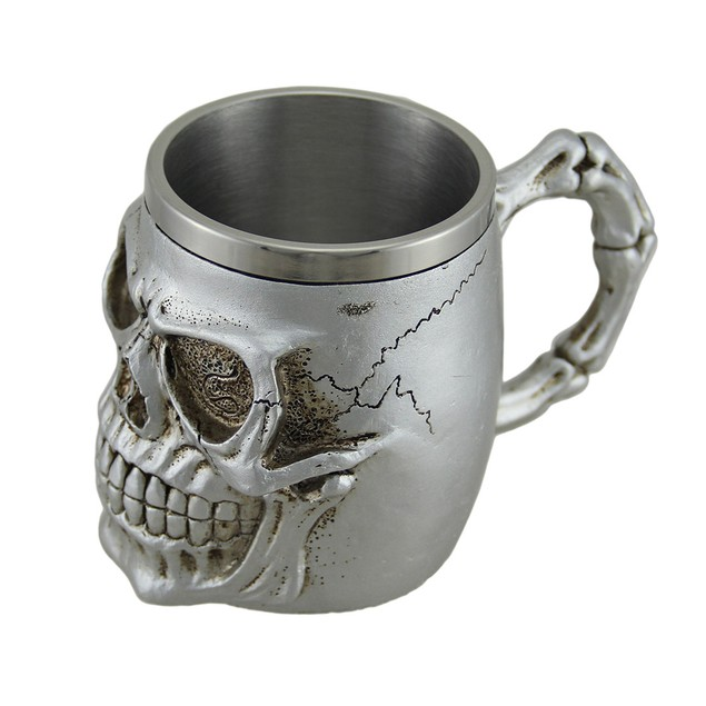 Creepy Metallic Silver Skull Mug W/ Stainless Mugs