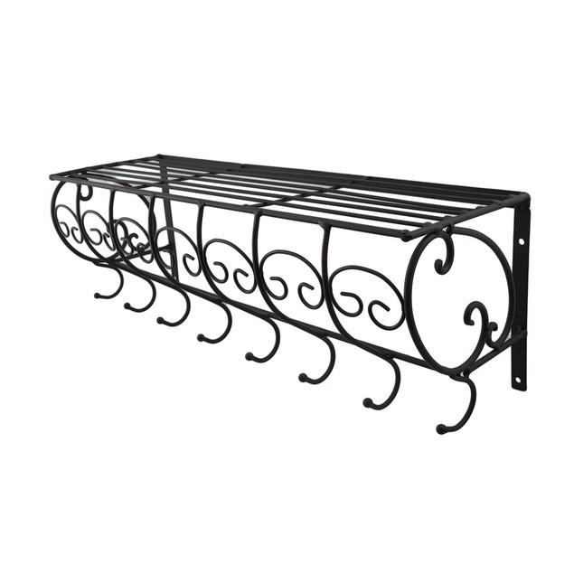 Set Of 2 Decorative Metal Wire Wall Hook Shelves Coat Hooks