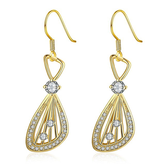 Gold Plated Grape Vine Drop Down Earrings