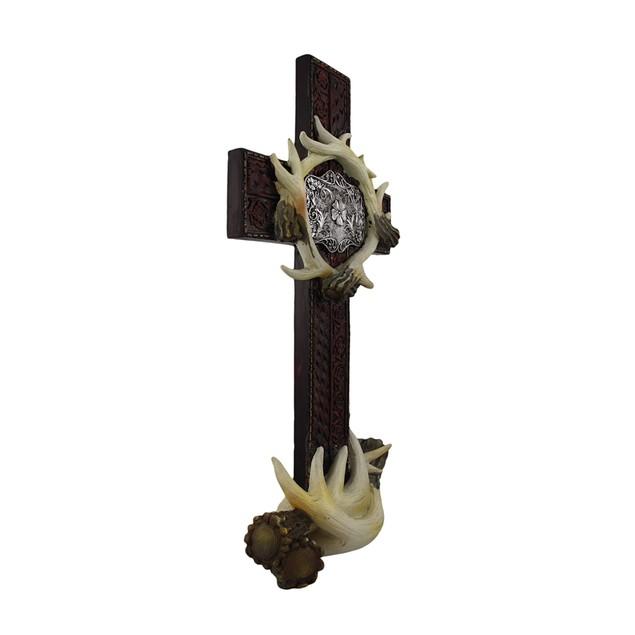 Deer Antler Western Style Cross Statue Figure Statues