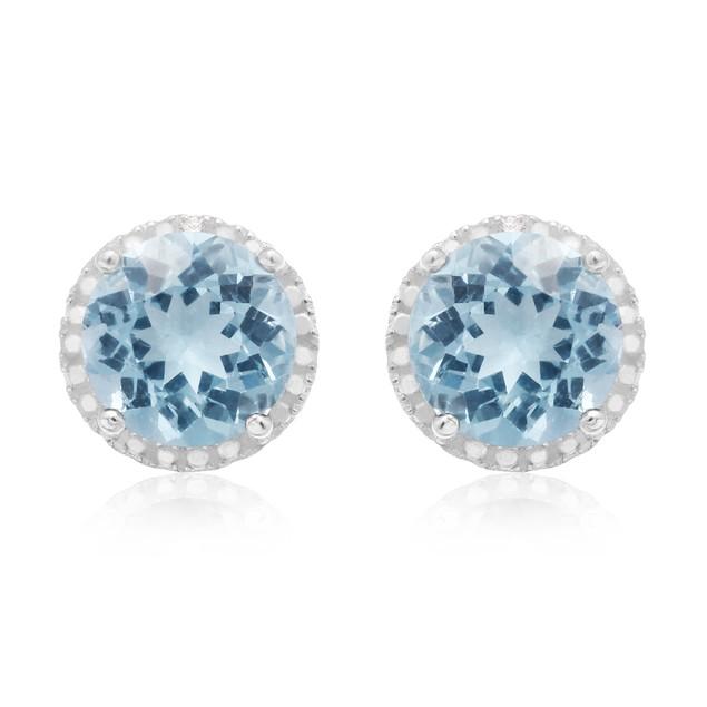 Sterling Silver 9 Carat Blue Topaz Halo Stud Earrings