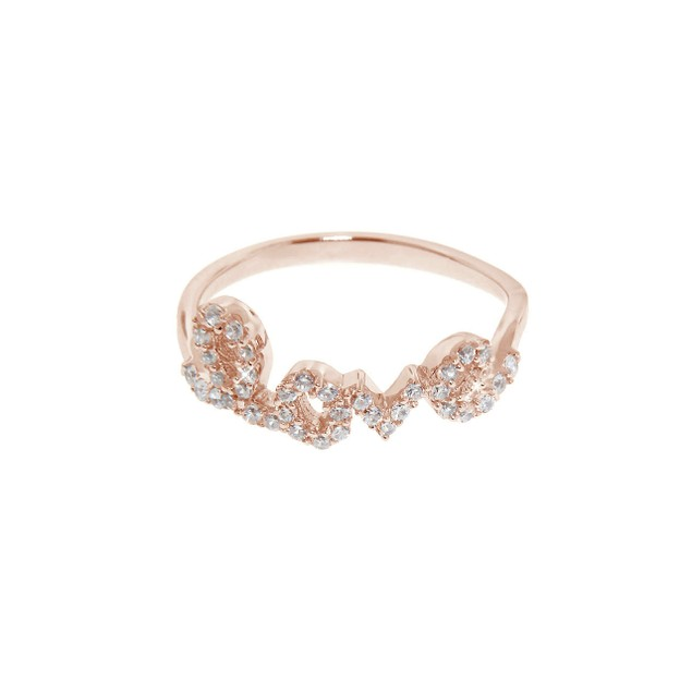 Rose Gold over Sterling Silver Pave Love Ring