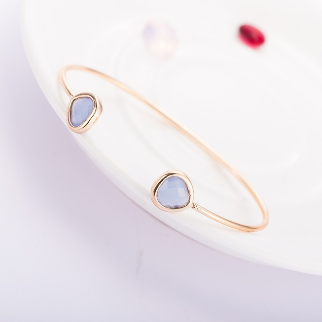 Gold Plated Duo Sapphire Gem Open Ended Bangle