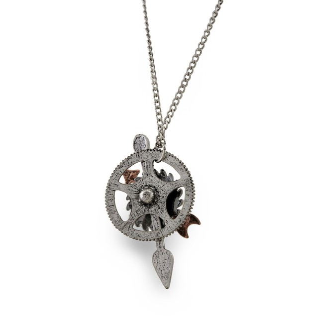 Antique Silver Steampunk Gear And Copper Arrow Womens Pendant Necklaces