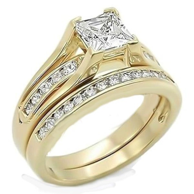 2.10 Ct Princess Cut AAA CZ Gold Plated Wedding Ring Set