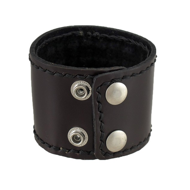 Brown Leather Crosshatch Style Wristband Mens Leather Bracelets