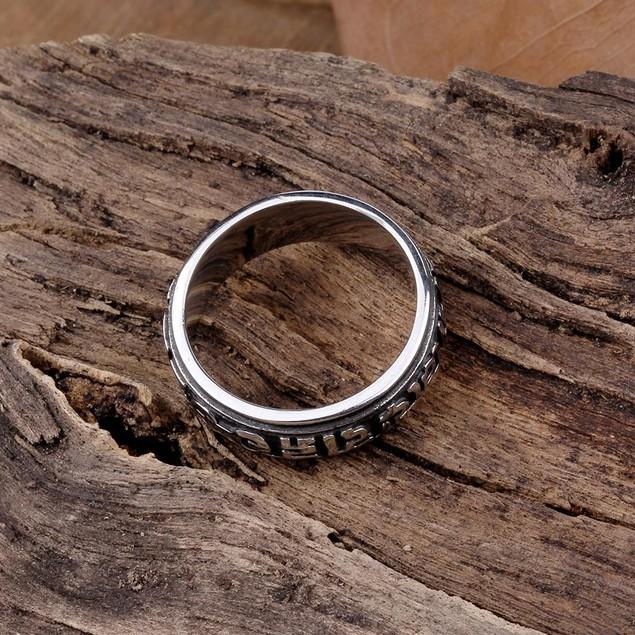 Oriental Ingrained Stainless Steel Ring