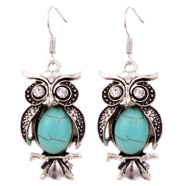 Antique Owl Boho Turquoise Earrings