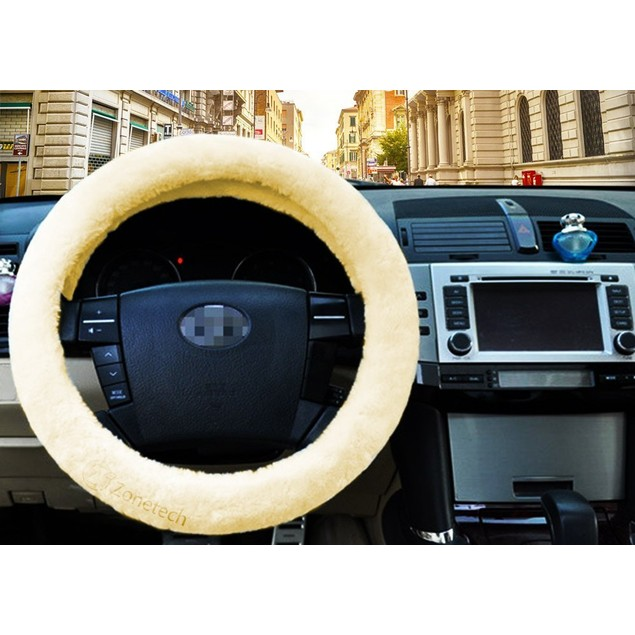 Zone Tech Car Decoration Steering Wheel Plush Cream Cover
