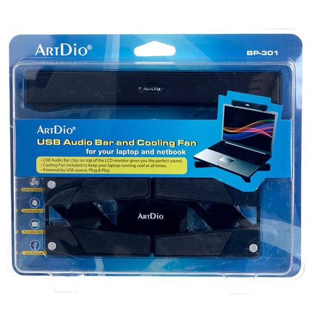 ArtDio® USB Audio Bar and Cooling Fan For Laptop - Watch the Video