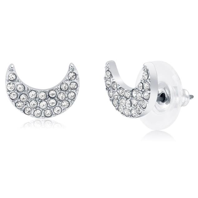 Crescent Moon Crystal Stud Earrings