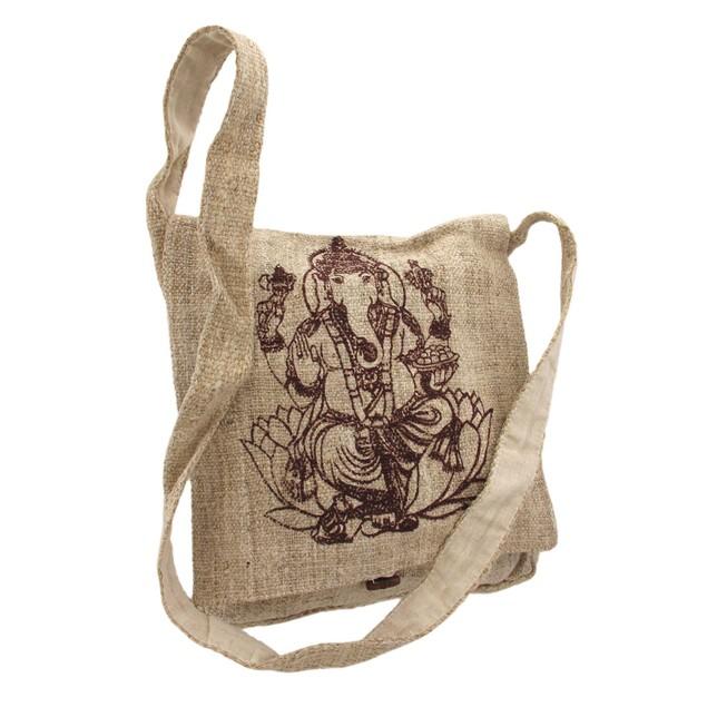 Natural Color Hemp Bag With Ganesha Mens Cross Body Bags