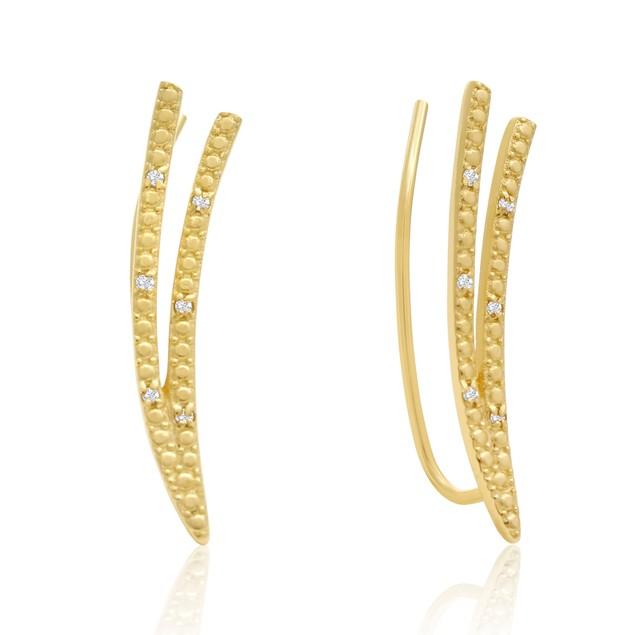 Gold Tone Diamond Accent Double Row Ear Climbers