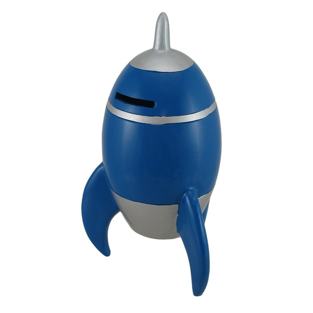 Blue And Silver Rocket Ship Coin Bank Toy Banks