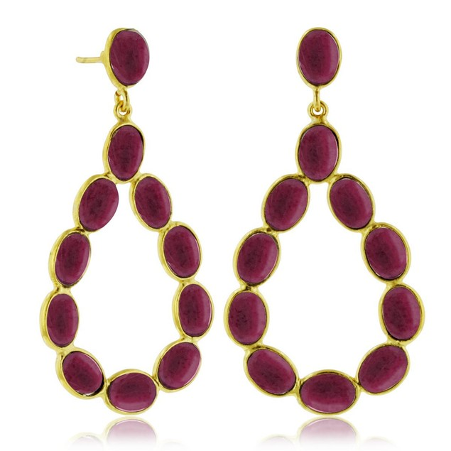 13 Carat Ruby Open Dangle Earrings