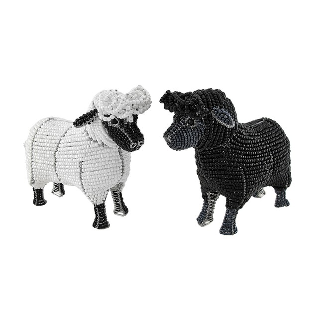 Pair Of Beadworx White And Black Glass Beaded Collectible Figurines