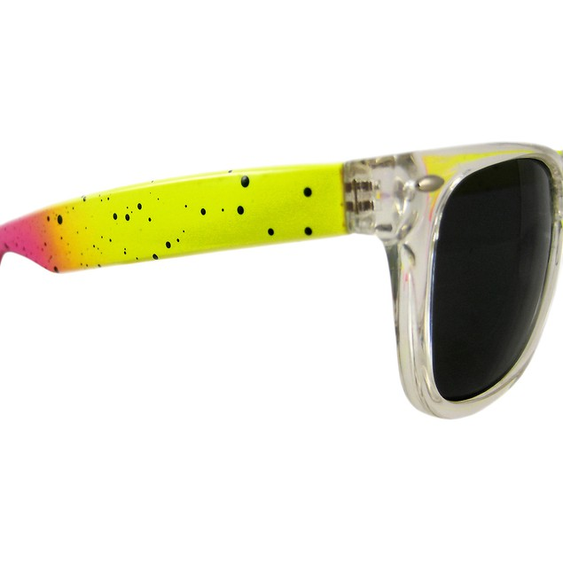 Neon Yellow / Pink Retro 80`S Style Sunglasses Womens Sunglasses