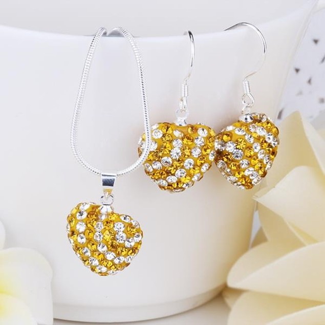 Multi-Pave Heart Drop Earring and Necklace Set - Golden Crystal