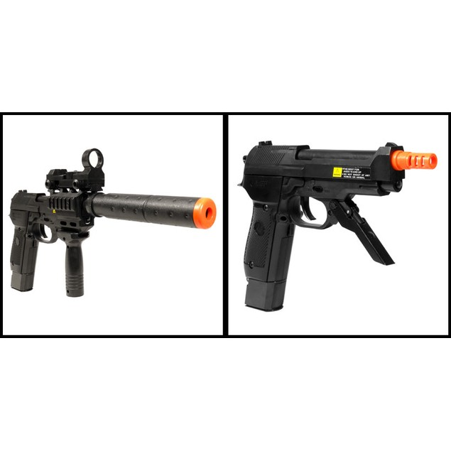 Electric Full Auto Tactical 2029A Pistol FPS-150 Blowback, Silencer, Flashlight, Fore Grip Airsoft Gun