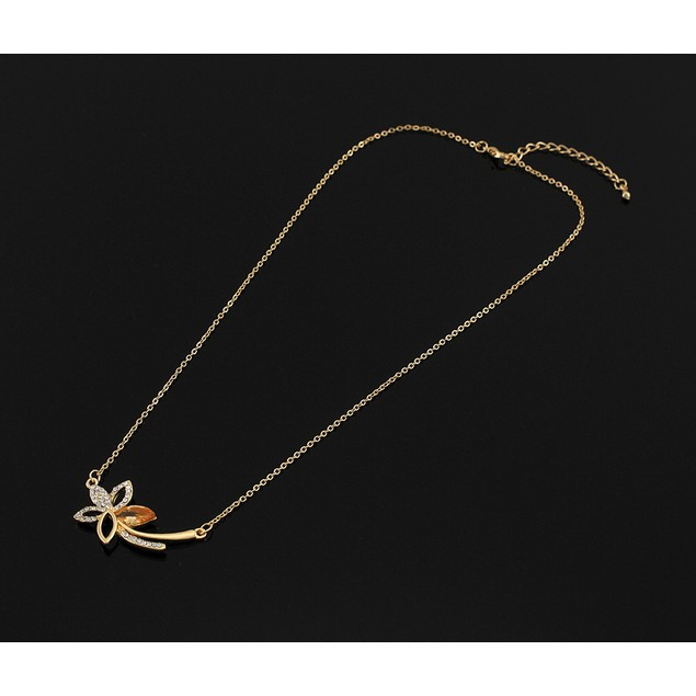 Rhinestone Flower W/Jewel Accent Gold Tone Womens Pendant Necklaces