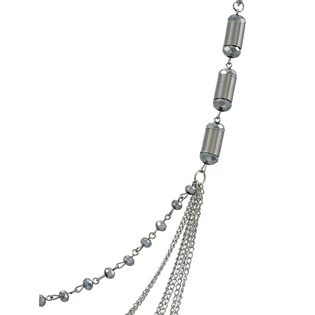 40 In. Chrome Swag Necklace With Faceted Silver Chain Necklaces
