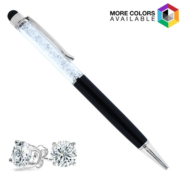 Sterling Silver Crystal Earrings & Ball Point Pen Set