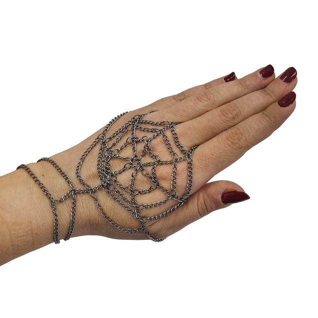 Gunmetal Finish Spider Web Design Link Hand Mens Chain Bracelets