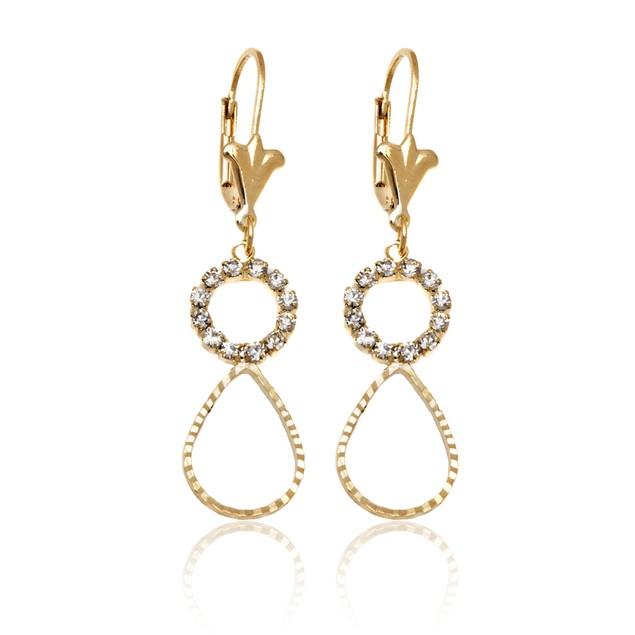 Gold & Crystal Open Circle Teardrop Earrings