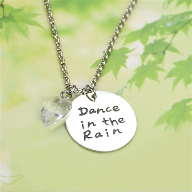 """Engraved """"Dance in the Rain"""" Pendant Necklace"""