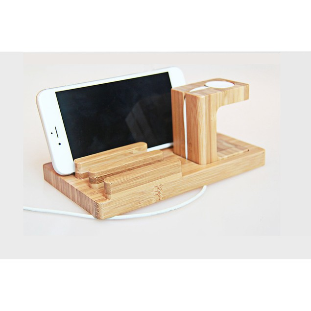 Bamboo Wooden Dock For Apple Watch, iPhone, & iPad