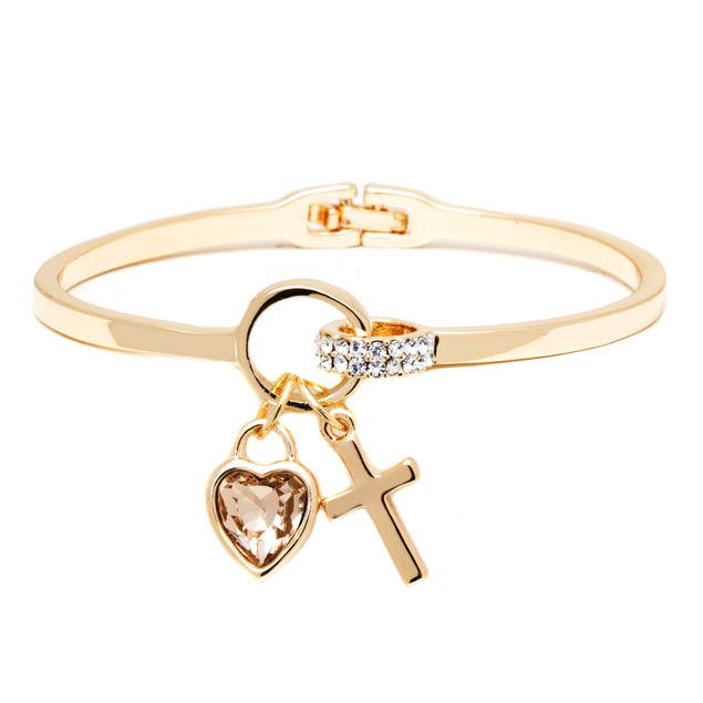 18K Gold & White Crystal Elements Heart Cross Cuff
